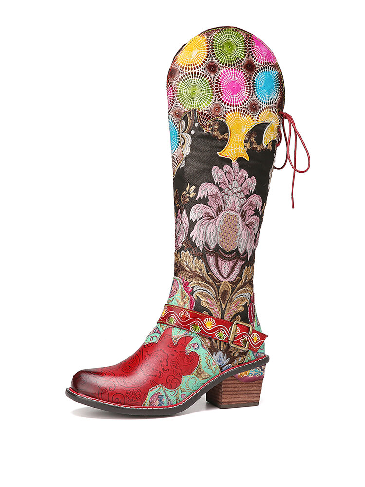 SOCOFY Gorgeous Flowers Cloth Splicing Printed Leather Comfy Mid-calf Boots