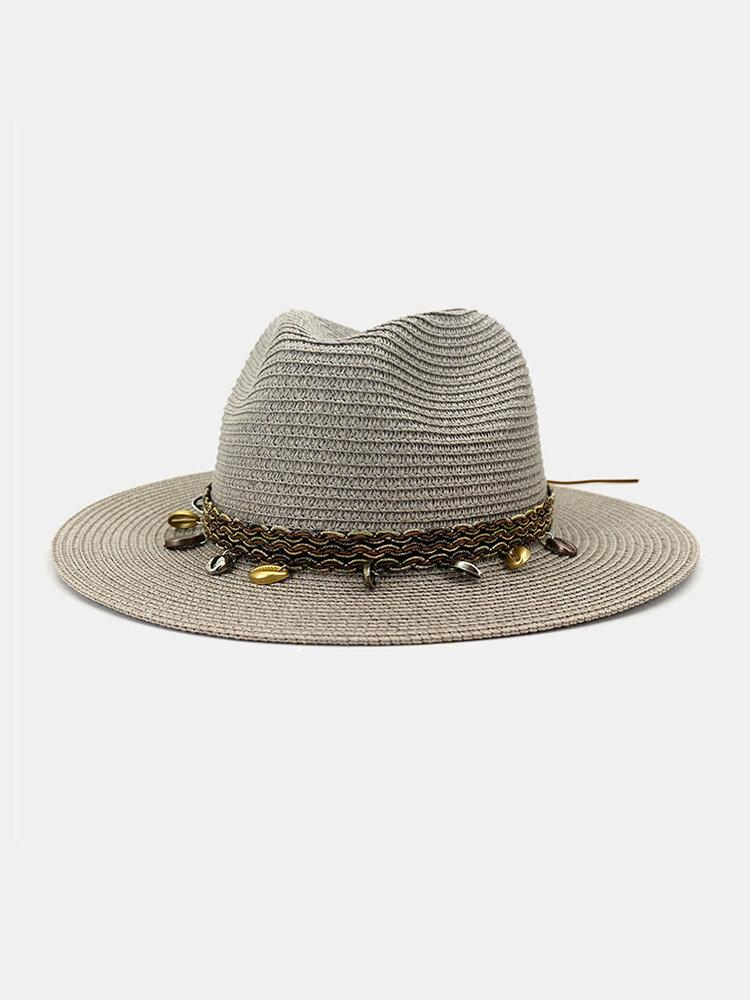 Men And Women British Wind Jazz Straw Hat Outdoor Sunscreen Breathable Big Brim Sun Hat