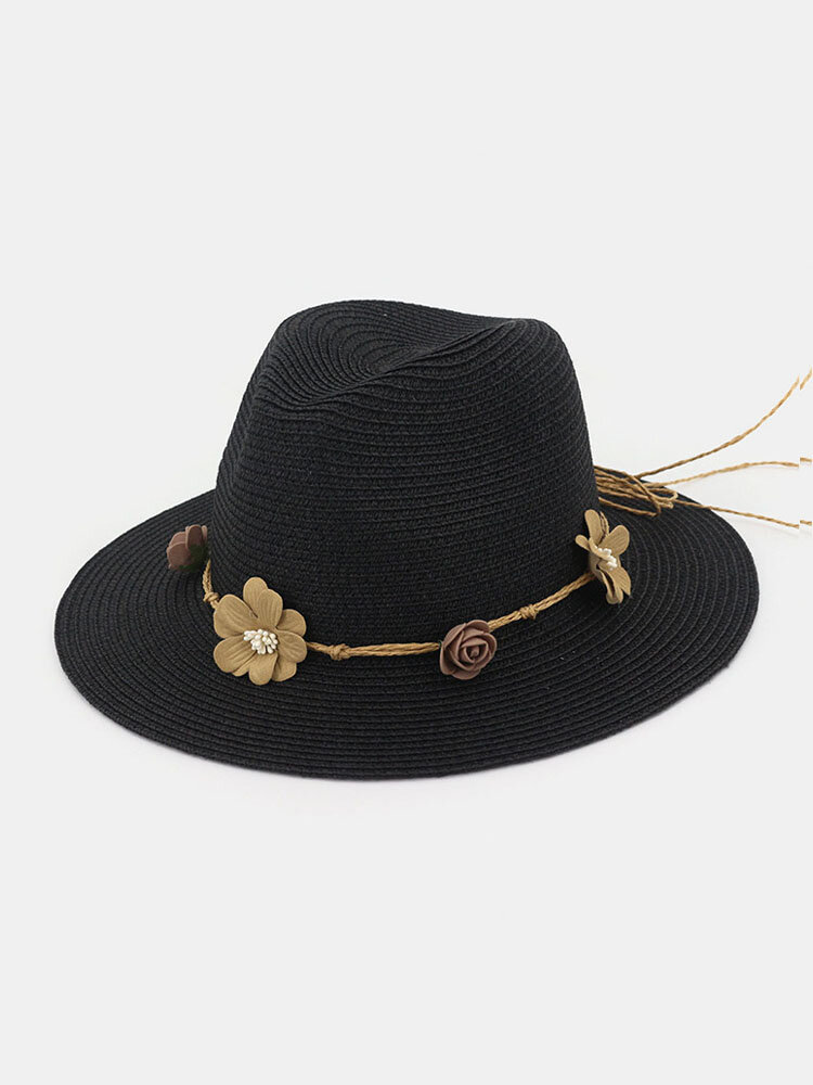 Chapeau de soleil de protection solaire de plage de chapeau de paille de fleur de femmes