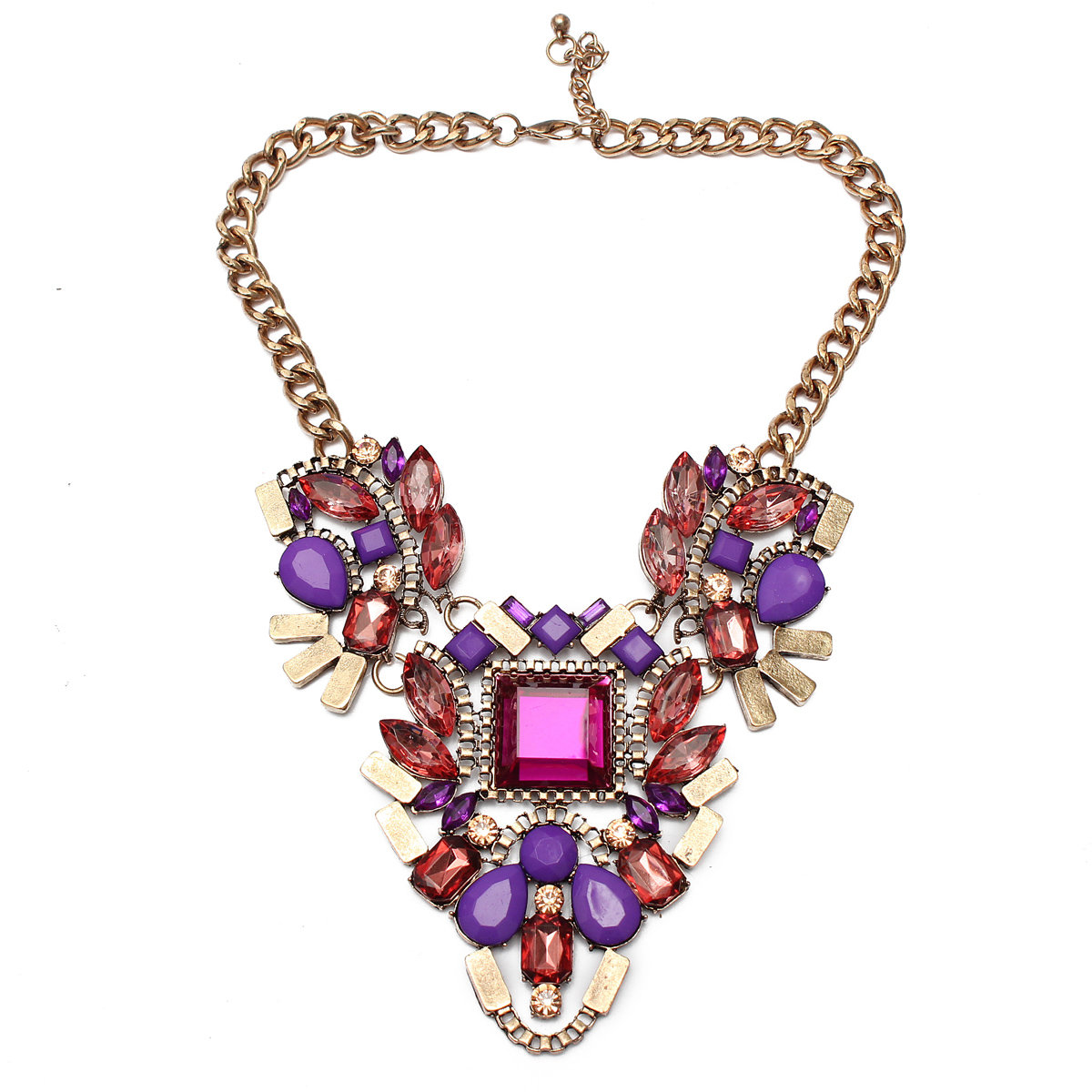 Crystal Flower Pandent Statement Necklace