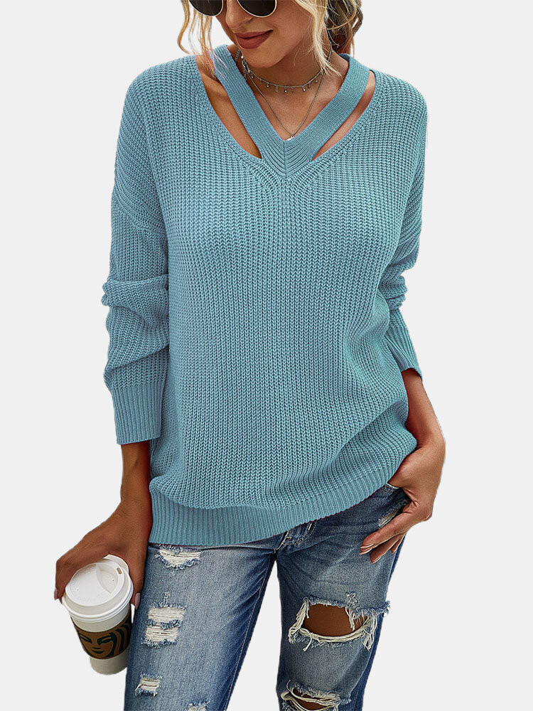 Women Solid Color Long Sleeve Loose V-neck Casual Sweater