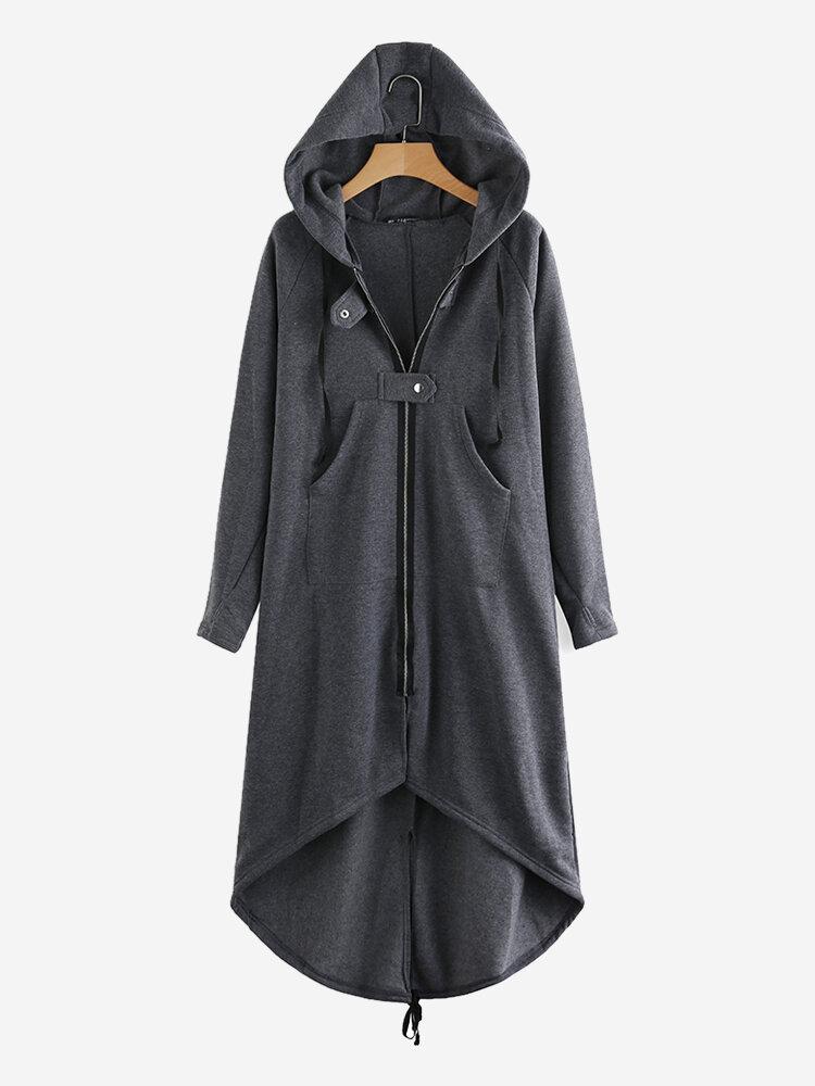 女性ジッパー長袖不規則な裾フード付きコート