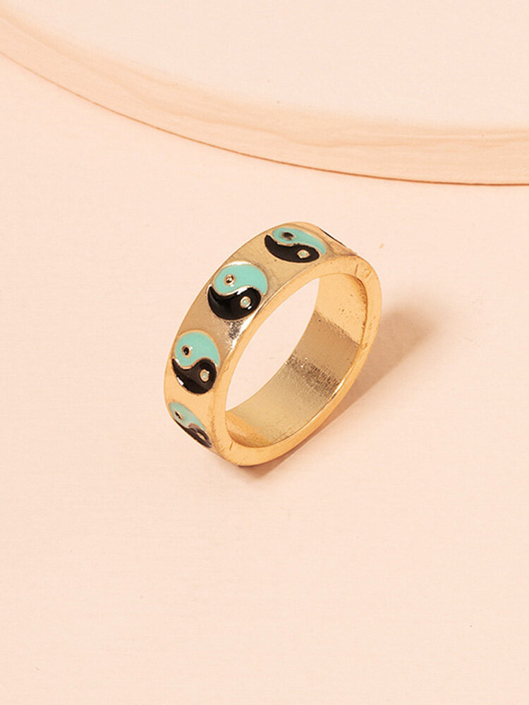 Vintage Yin Yang Bagua Circle-shape Alloy Rings