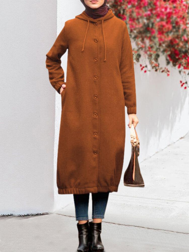 Куртка с длинным рукавом с капюшоном на пуговицах Толстовка с капюшоном