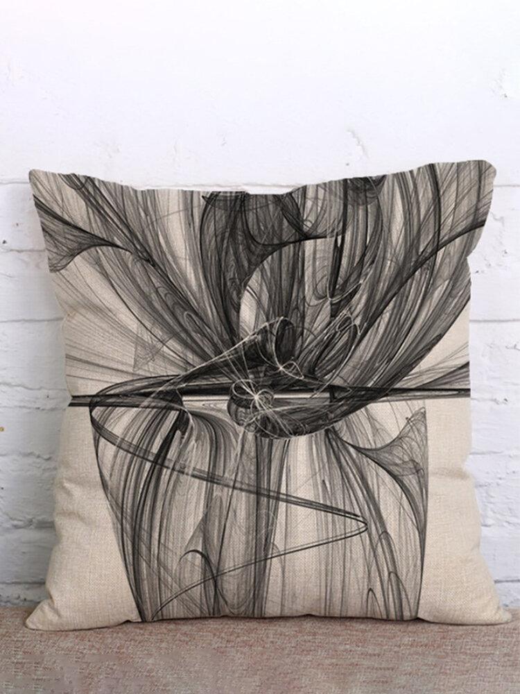 Pintura de tinta Funda de cojín de lino de algodón Funda de almohada de decoración cuadrada