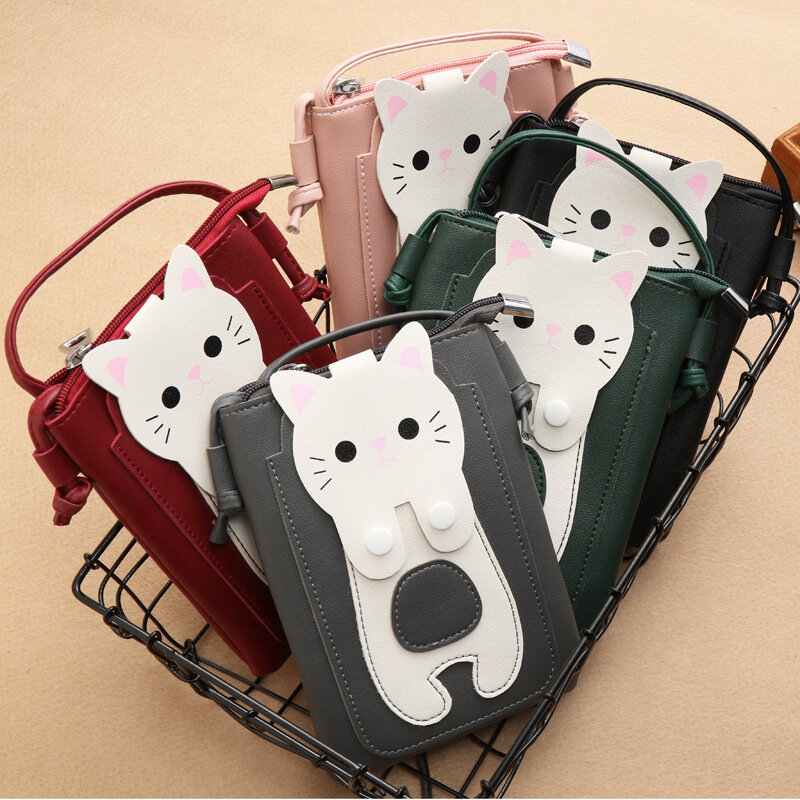 Ladies Phone Bag Super Cute Girl Diagonal Bag Cartoon Coin Purse Sundries Bag Multi-layer Small Backpack Storage Bag