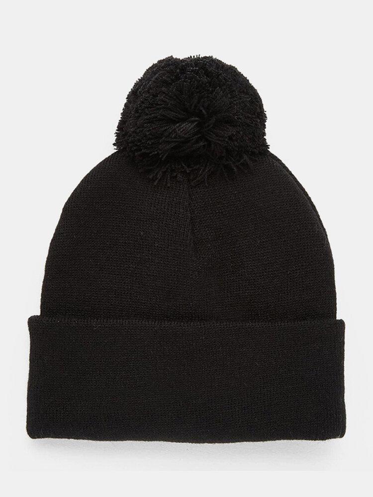 Hommes et s couleur unie garder au chaud bonnet de laine coupe-vent tricoté - Newchic - Modalova