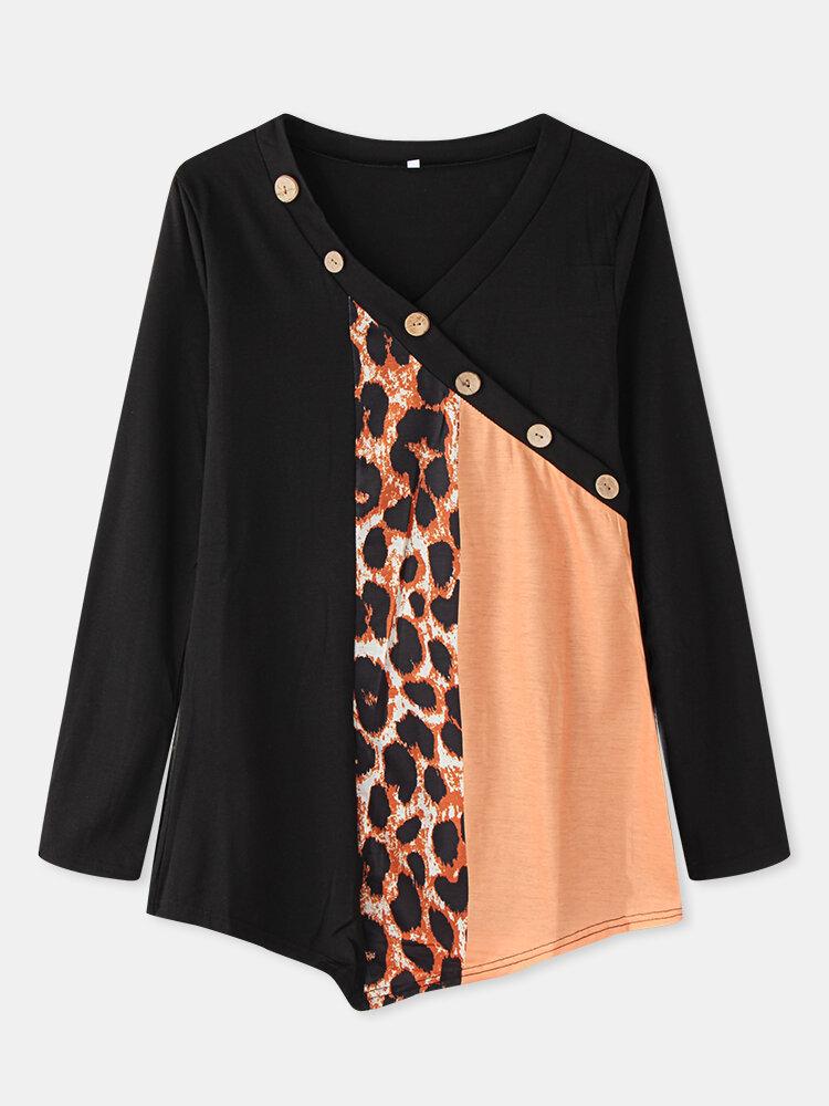Leopard Patchwork V-neck Long Sleeve Plus Sive Cotton Blouse with Button