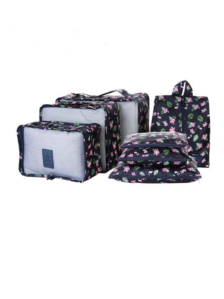SaicleHome 7Pcs Travel Tragbare Aufbewahrungstasche Set Kleidung Verpackung Gepäck Organizer Wasserdichte Tasche