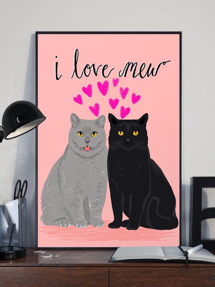 Valentine Amour Chats Motif Toile Peinture Sans Cadre Mur Art Toile Salon Décor À La Maison