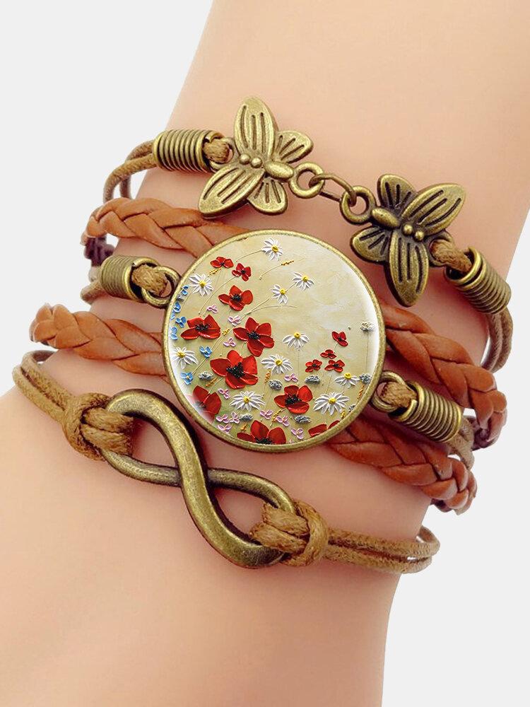 Vintage Floral Pattern Print Butterfly Braided Gemstone Multi-layer Bracelet