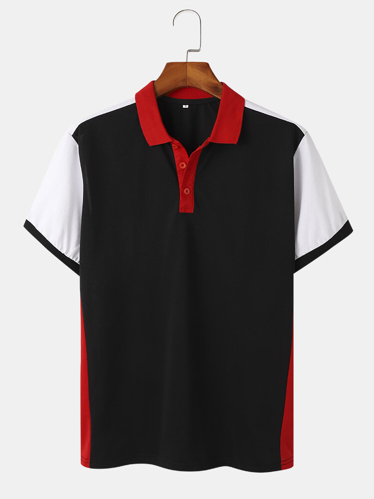 Mens Contrast Panel Patchwork Casual Short Sleeve Golf Shirts