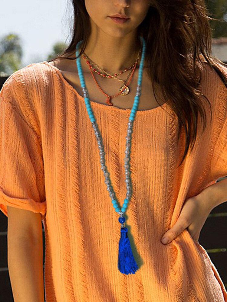 Bohemian Turquoise Handmade Beaded Necklace Ethnic Tassel Pendant Long Necklace