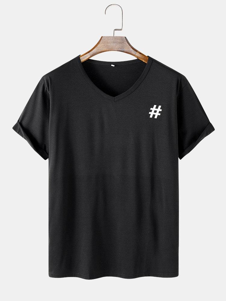 Mens # Symbol Print Sporty V-Neck Short Sleeve T-Shirt