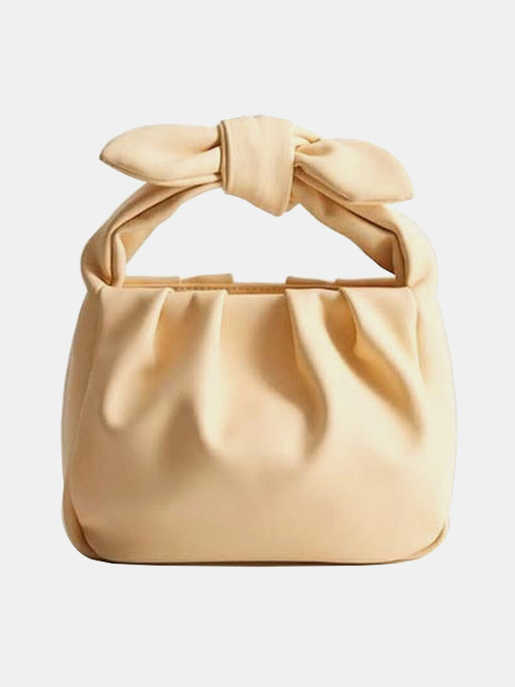 Women Bow Pouch Solid Casual Handbag