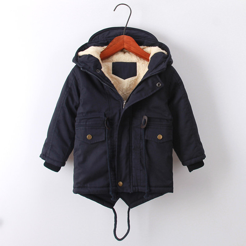 European Style Winter Coats Thicken Hooded Jackets For Boys Girls 3-11Y