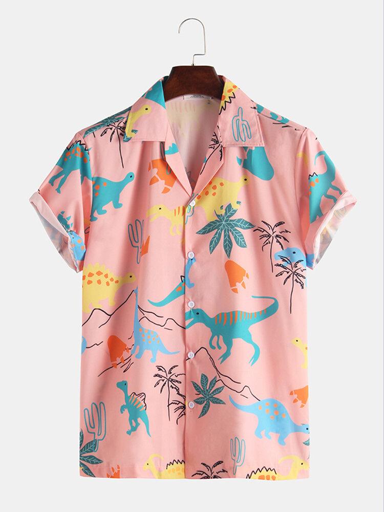 Mens Funny Style Dinosaur Cartoon Printed Short Sleeve Shirts