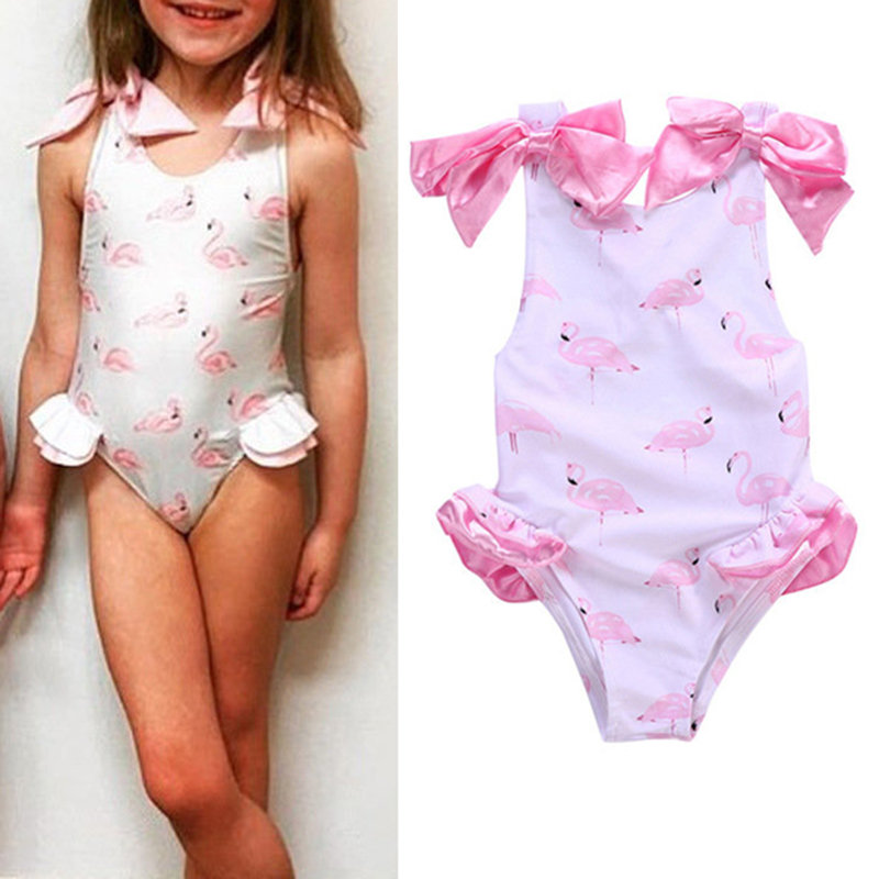 Swan Printed Toddler Girls Bows Backless Swimwear Beach suit For 1Y-7Y