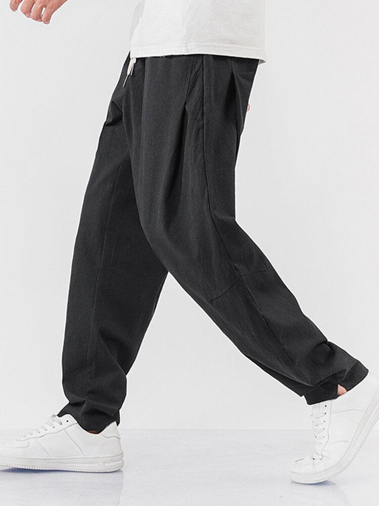 Mens 100% Cotton Breathable Drawstring Elastic Waist Sport Jogger Pants