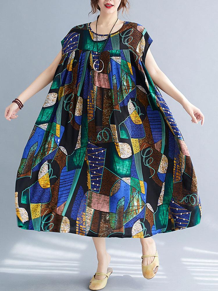 Bohemian Color Block Patched Print Plus Size Beaches Loose Dress