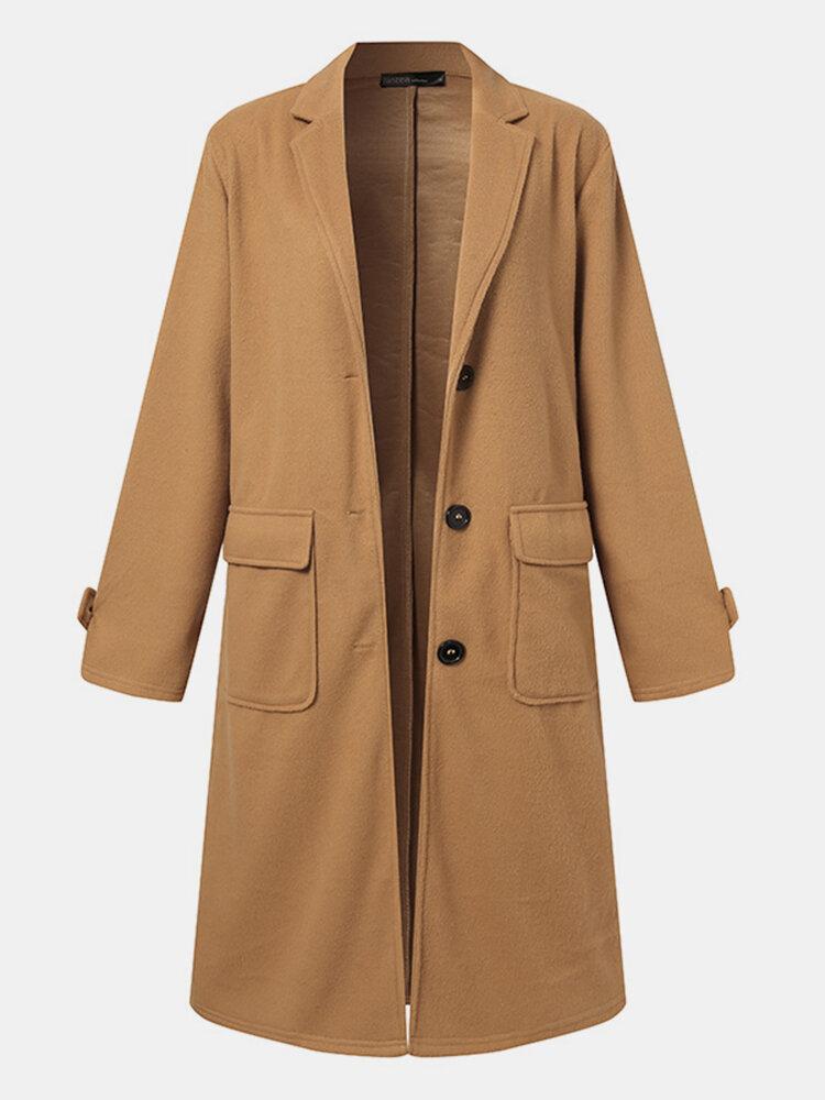 Women Solid Color Button Pocket Lapel Collar Casual Coat