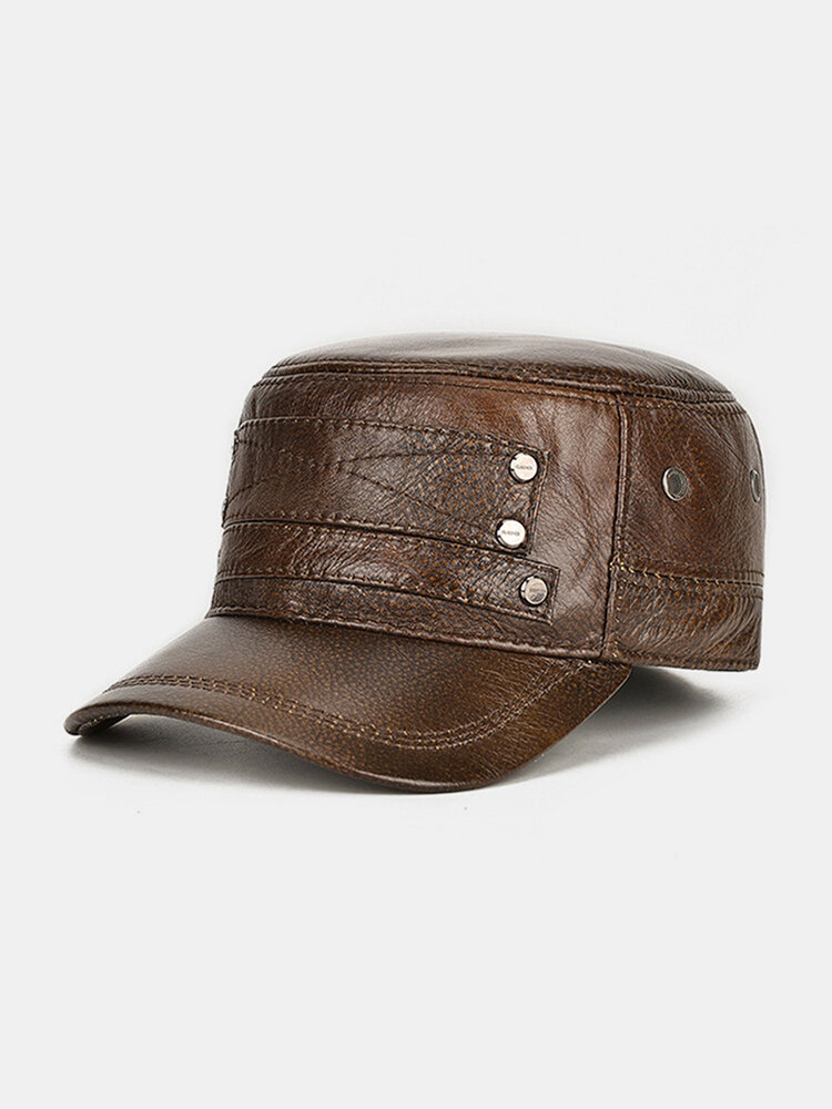 Studded Leather Flat Top Hat Male Hat Top Layer Cowhide Warm Hat