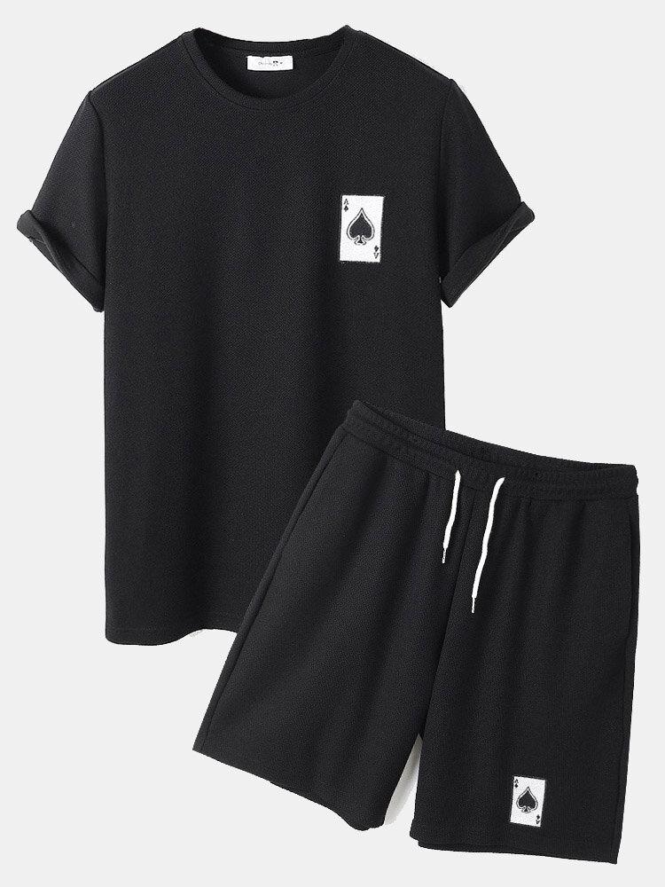 メンズスペードポーカー刺繡BlackニットTシャツ&ドローストリングショーツコーディネート