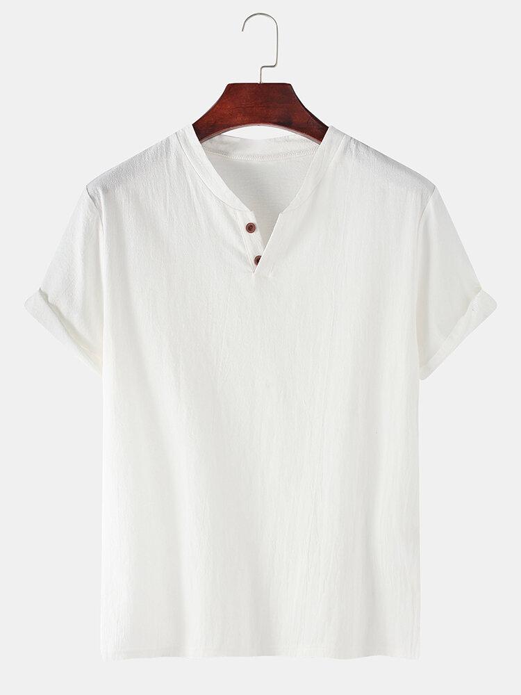 T-shirt décontracté à col en V de couleur unie 100% coton pour hommes