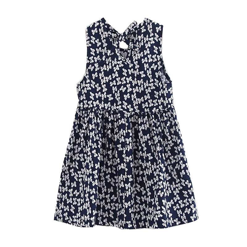 Floral Printed Toddlers Girls Kids Sleeveless Summer Party Dresses For 2Y-9Y