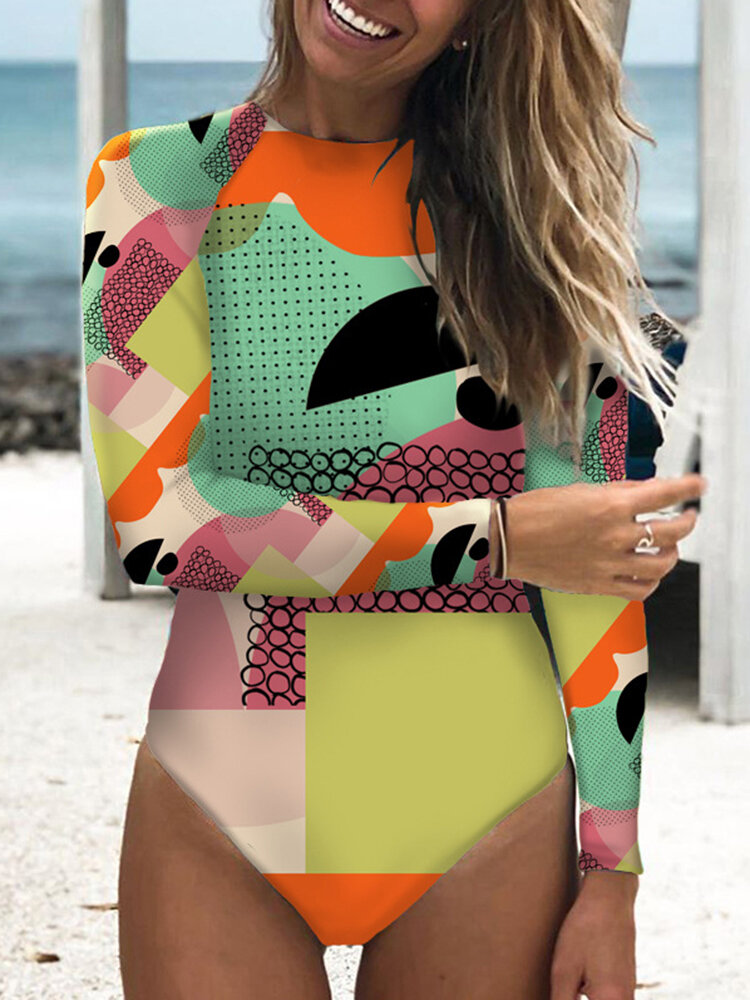Women Long Sleeve One Piece Graffiti Abstract Print Patchwork High Neck Slimming Surfing Swimsuit