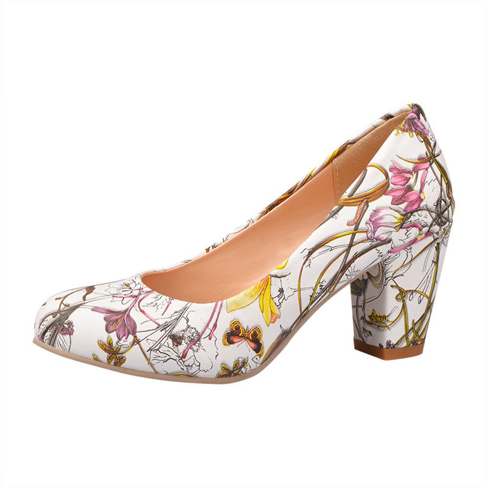 Extra Size Floral Chunky Heel Pumps
