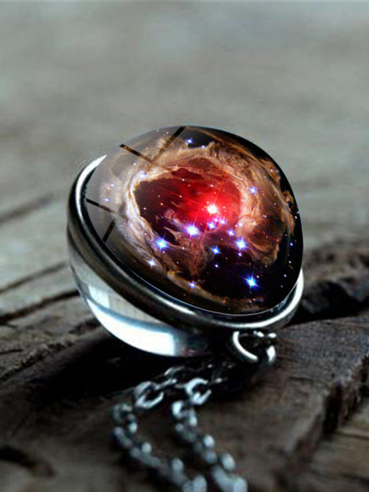 Vintage Double-Sided Glass Ball Women Necklace Universe Galaxy Nebula Pendant Necklace