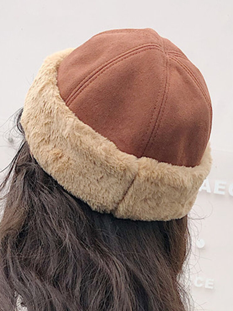 Men's Women's Suede Brimless Hat Warm Skull Caps Multi-color Hats
