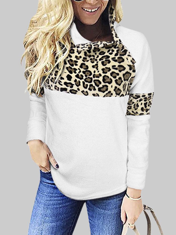 Leopard Print Long Sleeves Casual High Neck Patchwork Sweatshirt