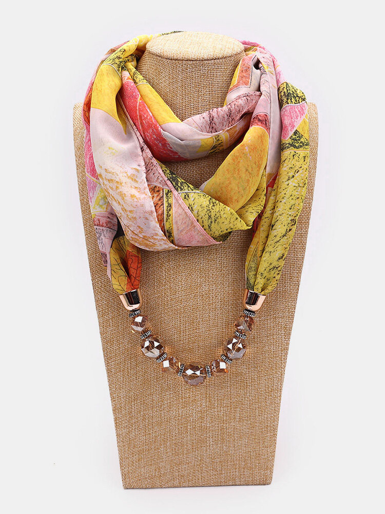 Vintage Chiffon Women Scarf Necklace Beaded Pendant Spring-Summer Sunscreen Scarf