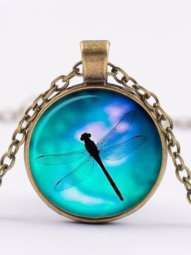 Vintage Dragonfly Women Necklace Alloy Glass Printing Pendant Sweater Chain