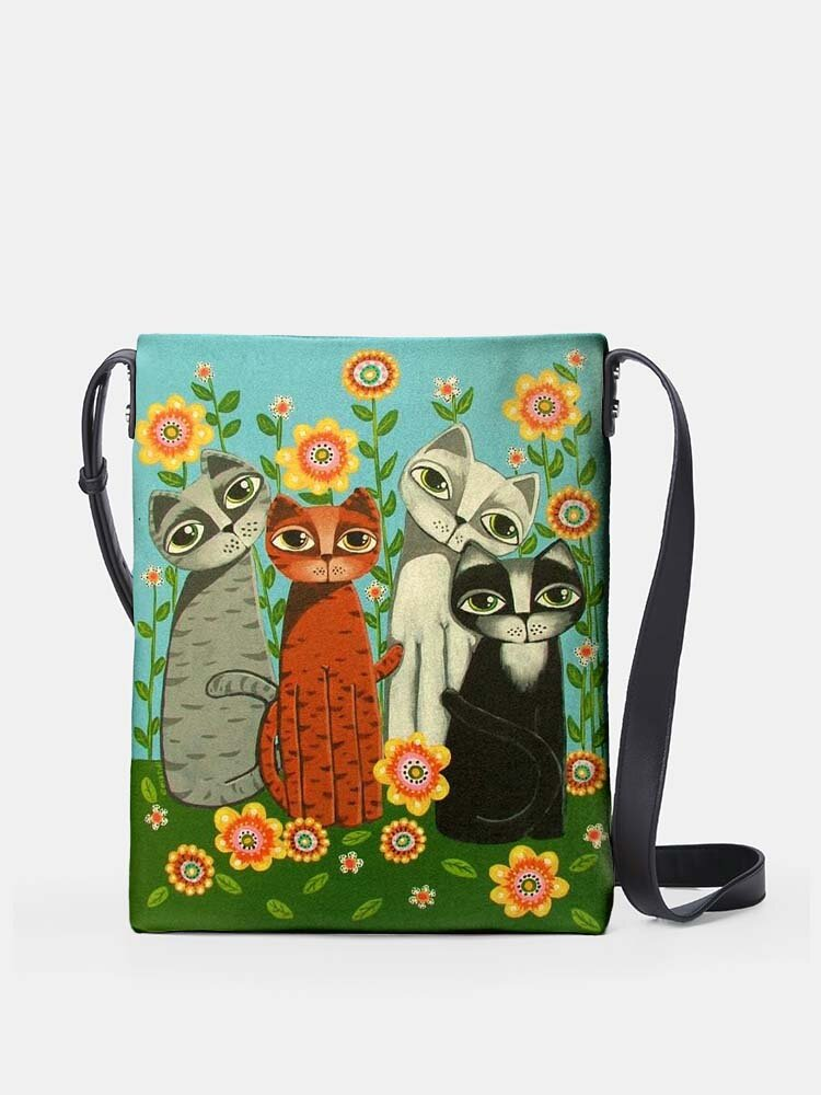 Four Lovely Psychedelic Cats Flower Print Pattern Comfy Waterproof Multi-Pockets Magnetic Clasp Crossbody Bag