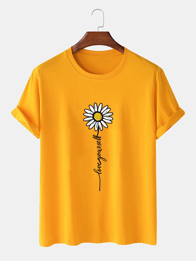Mens Daisy Letter Print 100% Cotton Casual Short Sleeve T-Shirts