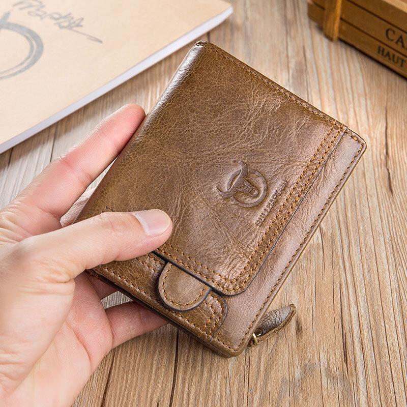 Portefeuille court zippé en cuir de vache porte-carte porte-monnaie - BULLCAPTAIN - Modalova