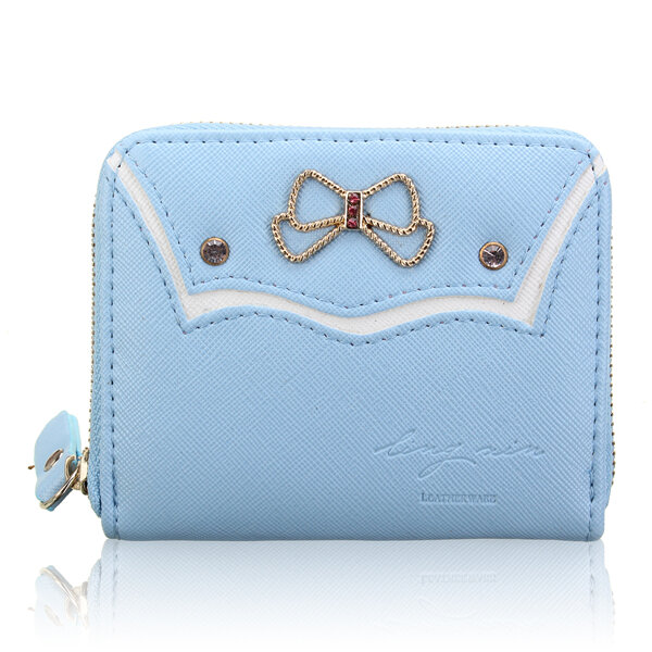 Women Lovely Bowknot Zipper Short Wallet Purse Card Holders