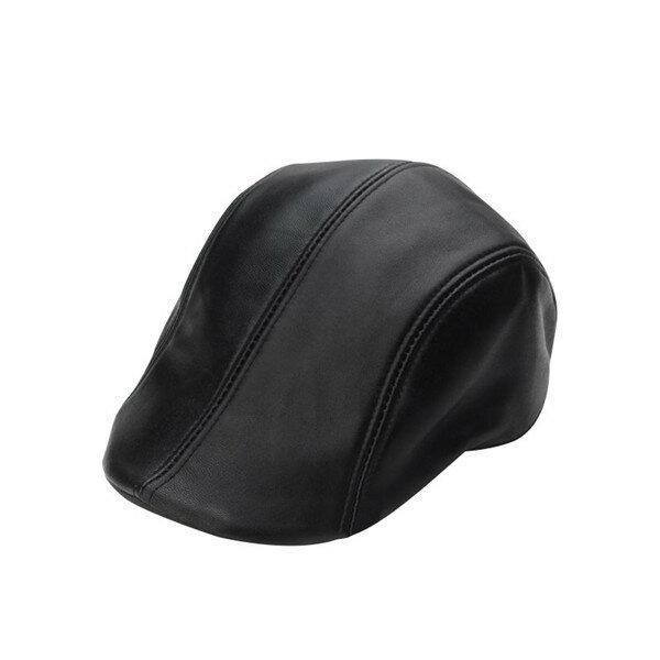 Men Black Sheepskin Leather Beret Cap Autumn Casual Soft Warm Newsboy Cap Peaked Hat