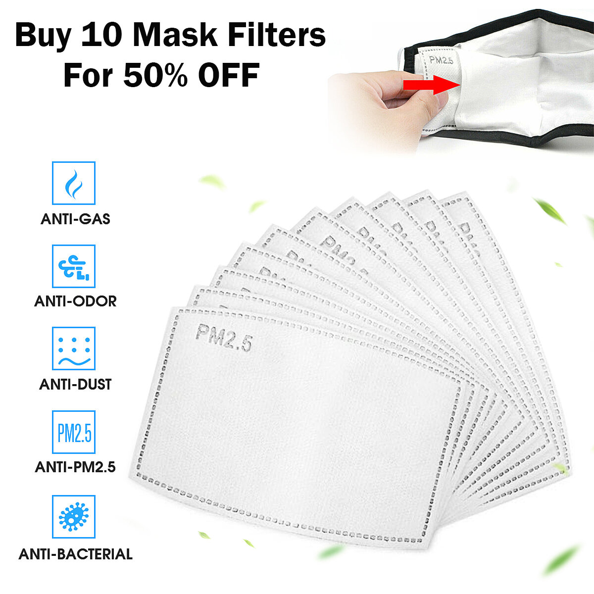 PM2.5 P2 Face Mask Filter Buy Ten For 50% Discount Activated Carbon Breathing Filters Adults