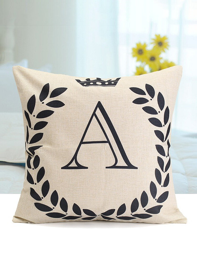 English Letters Olive Branch Pattern Bed Throw Pillow Case Cushion Cover Home Sofa Decor