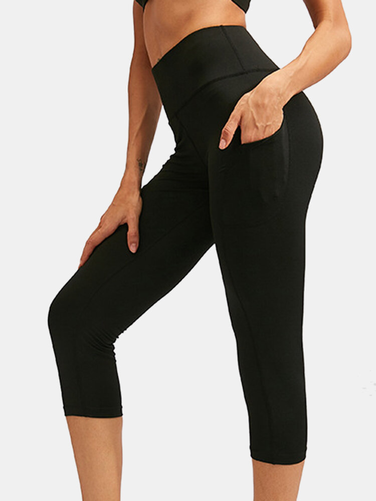 Women Quick-Drying High Elastic Skinny Sports High Waist Cropped Pants With Side Pocket
