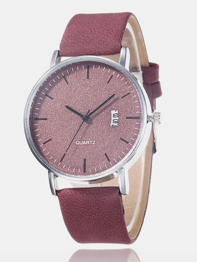 Leisure Sports Women Watch Frosted Dial Leather Band Alloy Case Calendar Chronograph Quartz Watch