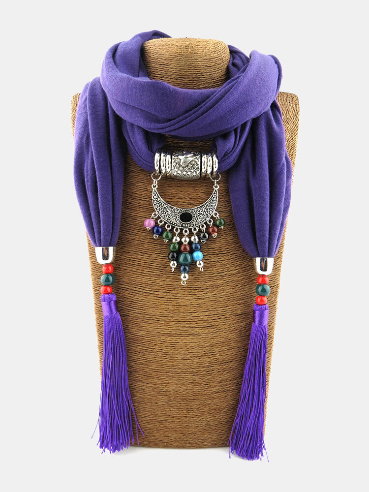 Vintage Women Scarf Necklace Mixed Colored Ceramic Tassel Pendant Shawl Necklace