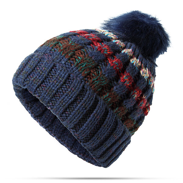 Women Winter Multicolor Knitted Beanie Hats With Fur Pom Pom Thicken Plush Inside Warm Hats