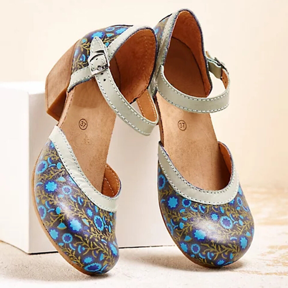 Large Size Women Casual Printing Buckle Chunky Heel Pumps
