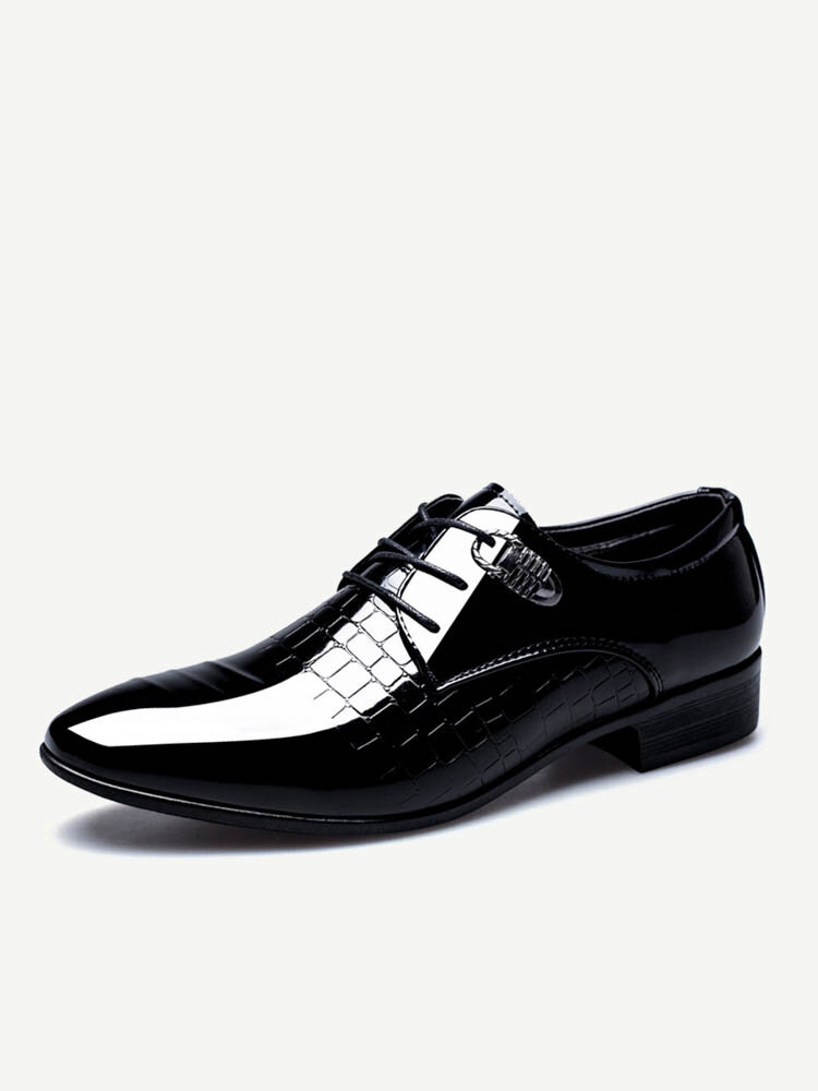 Men Classic Patent Leather Pointed Toe Lace Up Formal Dress Shoes