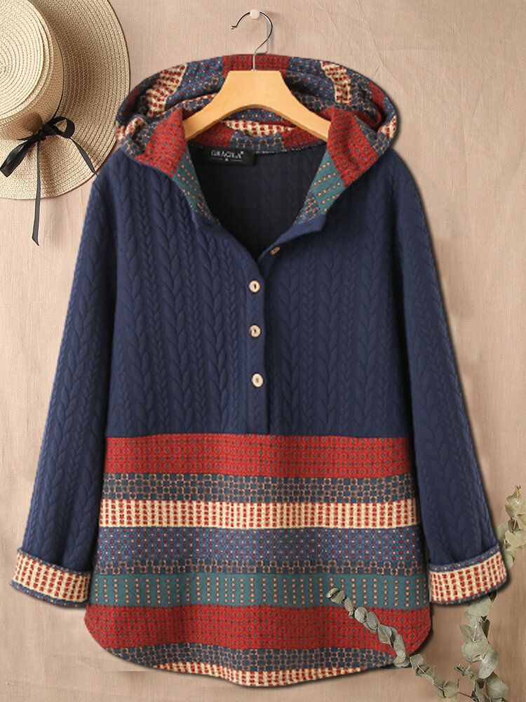 Ethnic Print Patchwork Button Ribbed Long Sleeve Hoodie